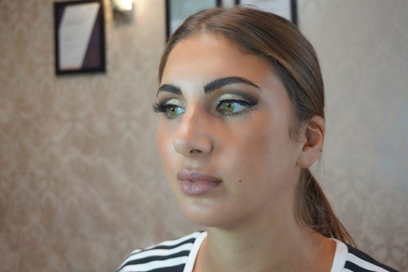 glamorous cut crease glitter makeup